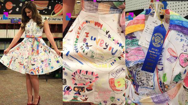 Uczniowie rysowali sukienka nauczycielki
