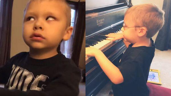 Niewidomy 6latek pianino